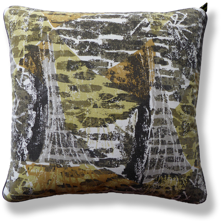 green abstract vintage cushion 716