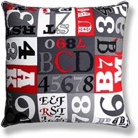black and white abstract vintage cushion 464 Front