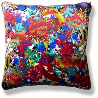 red floral vintage cushion 728 Front