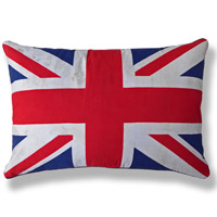 blue graphic flag vintage cushion 656 Front