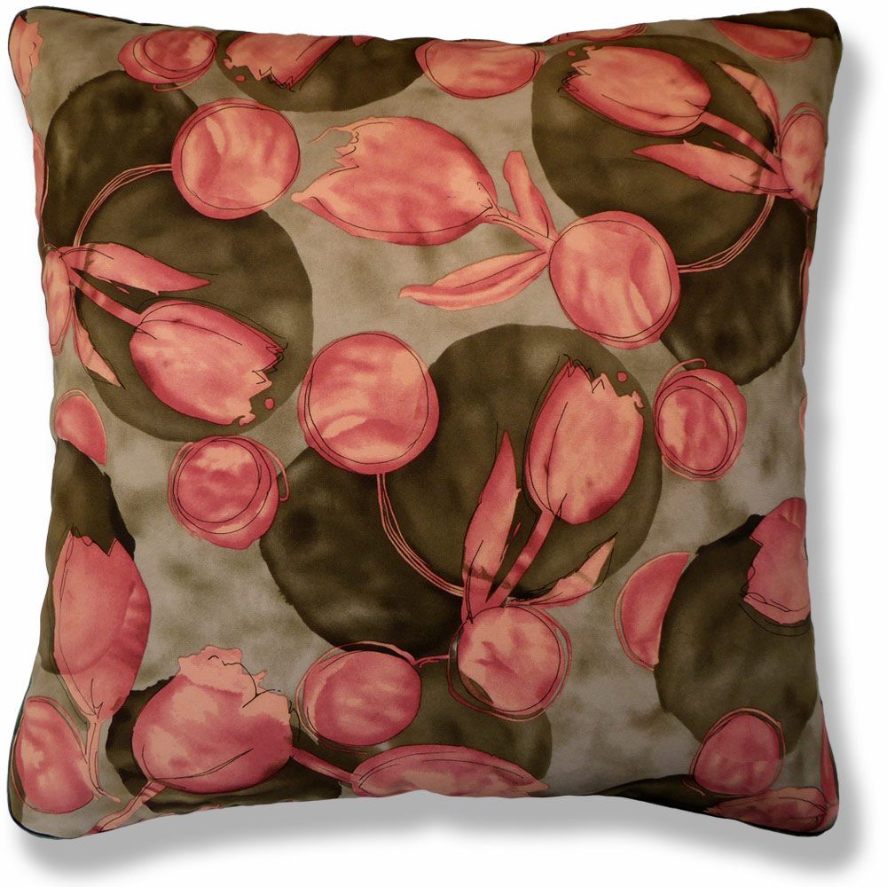 green floral vintage cushion 903