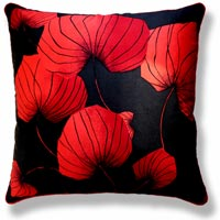 red floral vintage cushion 555 Front