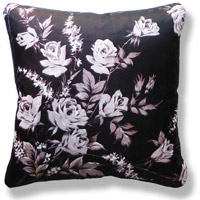 black and white floral vintage cushion 739 Front