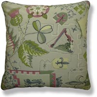 green floral vintage cushion 766 Front