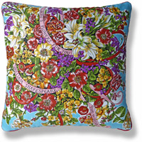 cyan floral vintage cushion 774 Front