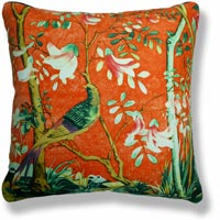 orange floral vintage cushion 842