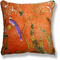 orange floral vintage cushion