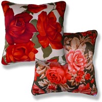 red floral vintage cushion 876