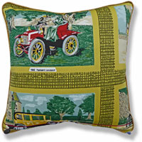 yellow graphic vintage cushion
