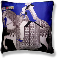 blue graphic vintage cushion 249 Front
