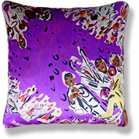 purple graphic vintage cushion 538 Front