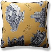 yellow graphic vintage cushion 723 Back