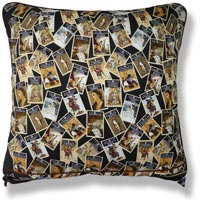 black and white graphic vintage cushion 808 Back