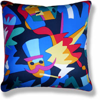 blue abstract graphic vintage cushion 810 Front