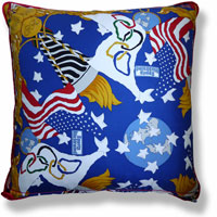 blue abstract graphic vintage cushion 810 Back