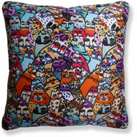 orange abstract graphic vintage cushion 854 Back