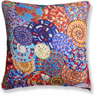 orange abstract graphic vintage cushion 854 Front