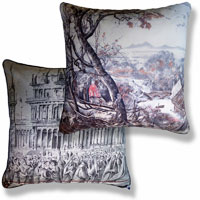 pink graphic vintage cushion 859