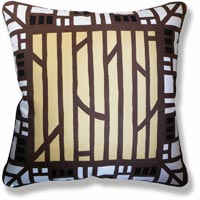 yellow green abstract vintage cushion 906 Back