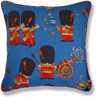 blue graphic vintage cushion