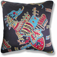 cyan graphic vintage cushion 933