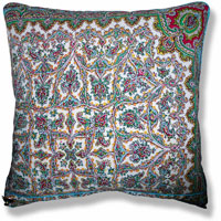 cyan graphic vintage cushion