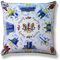 cyan blue royal vintage cushion 448 Front