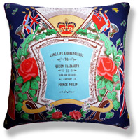 cyan blue royal vintage cushion 624 Front