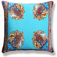 cyan blue royal vintage cushion 624 Back