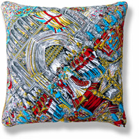 cyan royal flag vintage cushion 764 Front