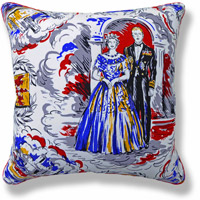 blue royal flag vintage cushion 767 Front