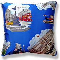 blue travel flag vintage cushion 718 Back