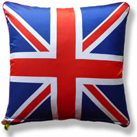 blue travel graphic flag vintage cushion 718 Front