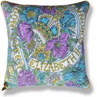 cyan floral vintage cushion 763 Front