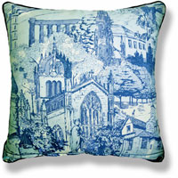 cyan travel graphic vintage cushion 821 Back